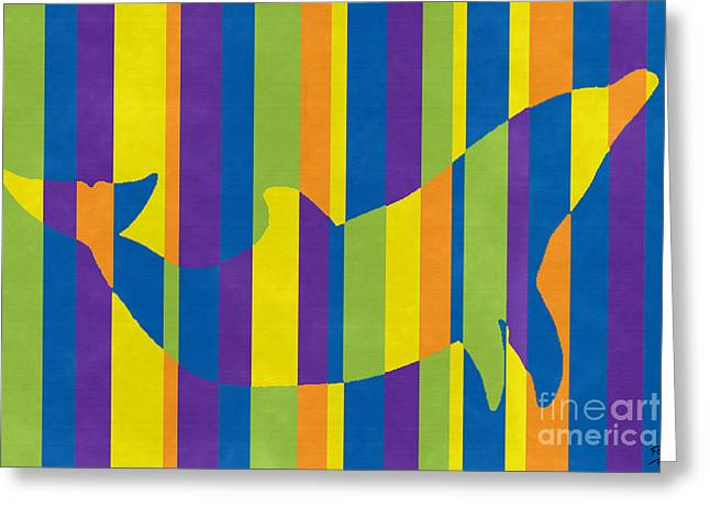 Abstract Expressionist Greeting Cards - Dolphin 1420 Greeting Card by Flo Ryan