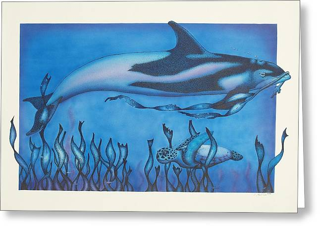 Dolphin And Turtle Greeting Card by Erik Loiselle