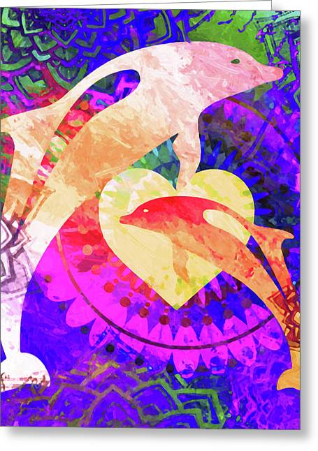 Dolphin Art Greeting Card by Stacey Chiew