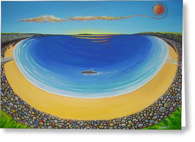 Dolphin At Whitestrand Greeting Card by Eamon Doyle