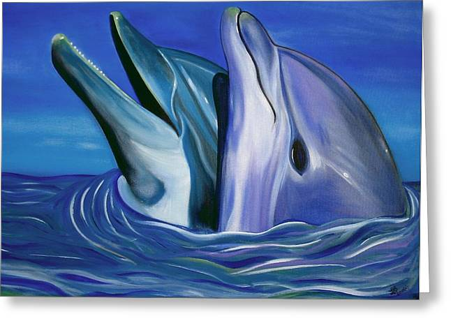 Dolphin Dance Greeting Card by Laura Barbosa