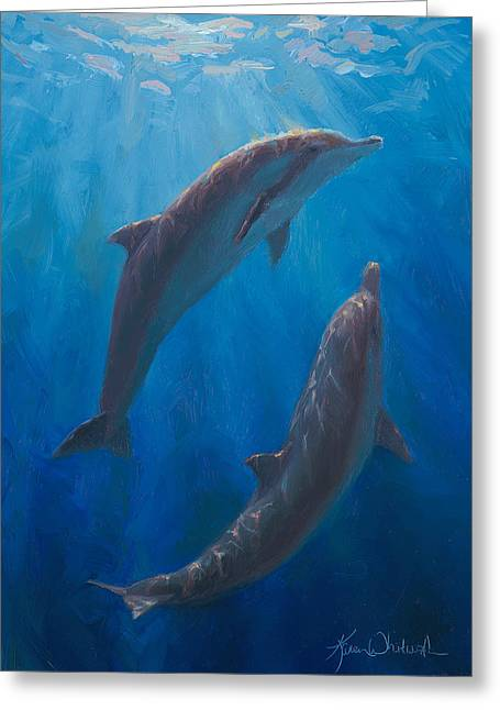 Dolphin Dance - Underwater Whales - Ocean Art - Coastal Decor Greeting Card