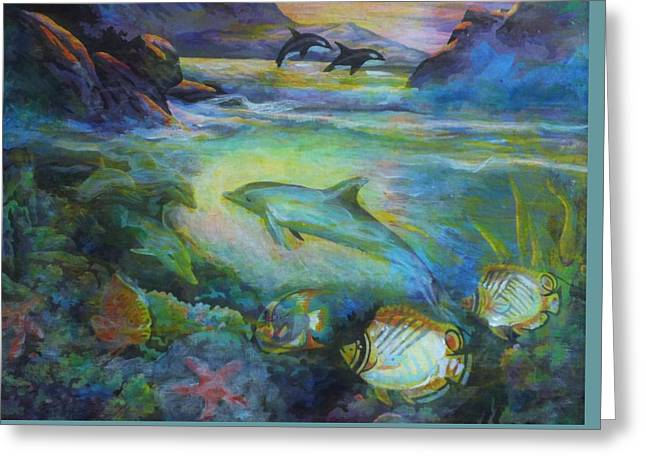 Greeting Card featuring the painting Dolphin Fantasy by Denise Fulmer