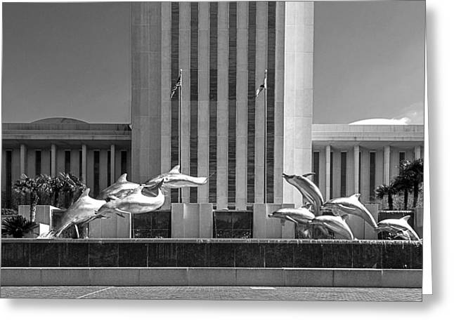 Dolphin Fountain In Black And White Greeting Card by Frank Feliciano