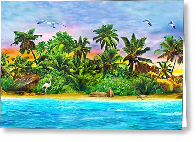 Dolphin Paradise Island Variant 1 Greeting Card