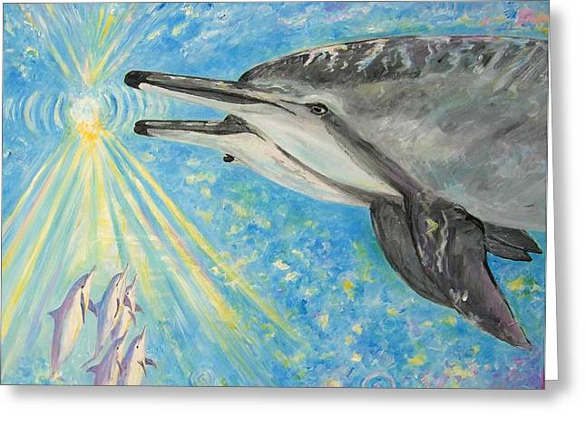 Best Sellers -  - Liberation Greeting Cards - Dolphin power Greeting Card by Tamara Tavernier