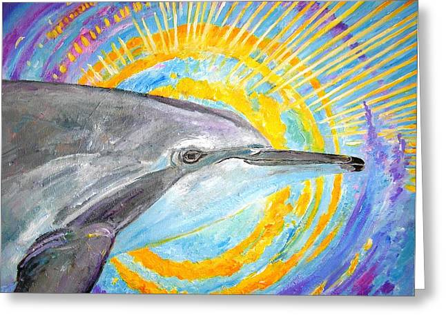 Dolphin Ray Greeting Card by Tamara Tavernier