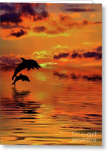 Dolphin Silhouette Sunset By Kaye Menner Greeting Card