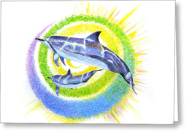 Dolphin -spiral Greeting Card by Tamara Tavernier