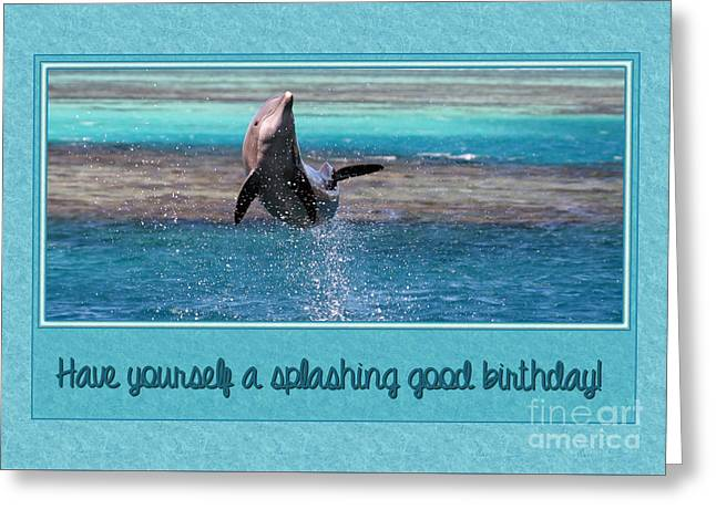 Greeting Card featuring the digital art Dolphin Splash Birthday by JH Designs