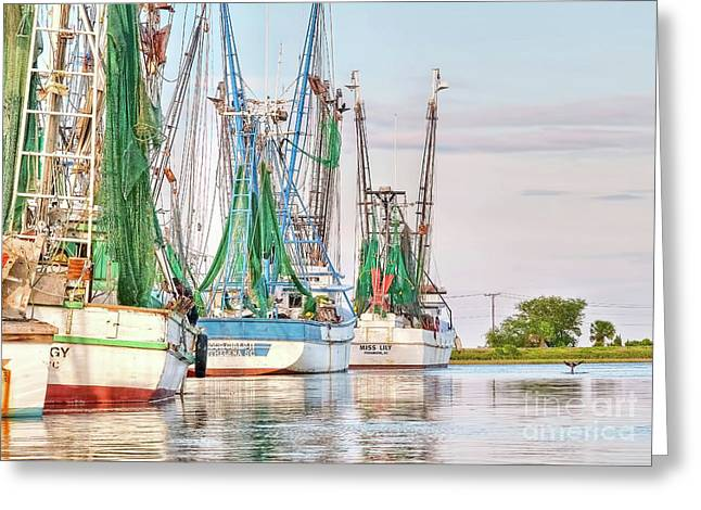 Dolphin Tail - Docked Shrimp Boats Greeting Card
