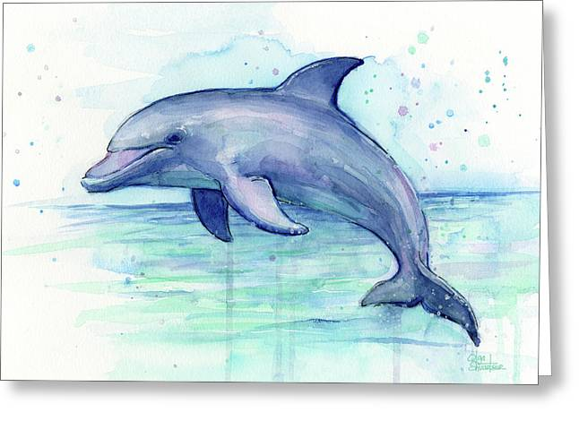 Dolphin Watercolor Greeting Card by Olga Shvartsur