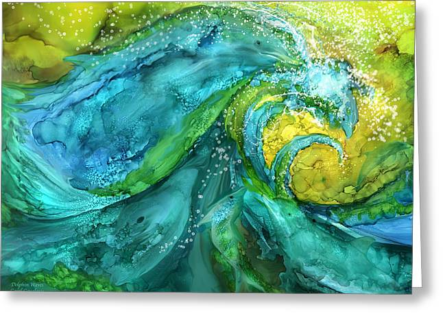 Dolphin Waves Greeting Card by Carol Cavalaris