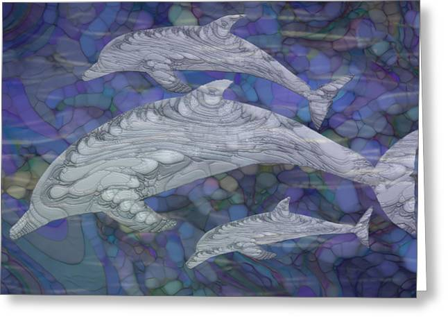 Dolphins - Beneath The Waves Series Greeting Card by Jack Zulli