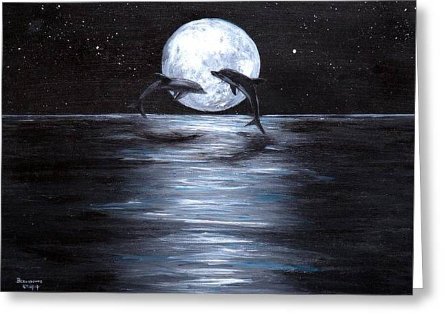 Dolphins Dancing Full Moon Greeting Card