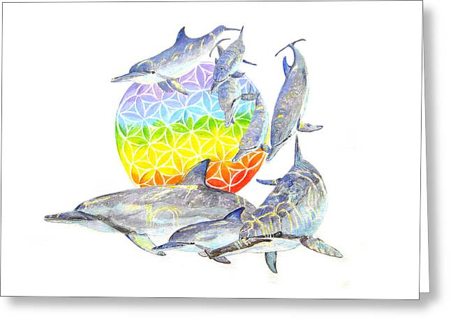 Dolphins-flower Of Life2 Greeting Card by Tamara Tavernier