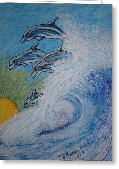 Dolphins Jumping In The Waves Greeting Card by Kathy Marrs Chandler