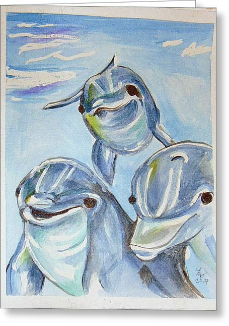 Dolphins Greeting Card by Loretta Nash