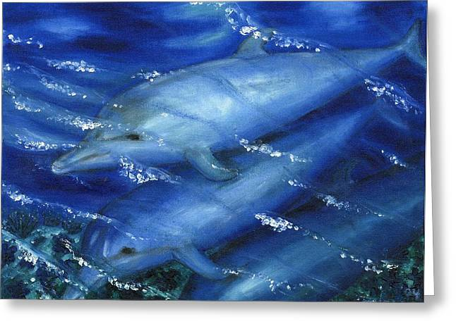 Dolphins Swimming Greeting Card by Tanna Lee M Wells