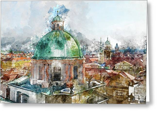 Dome In Prague Czech Republic Greeting Card by Brandon Bourdages