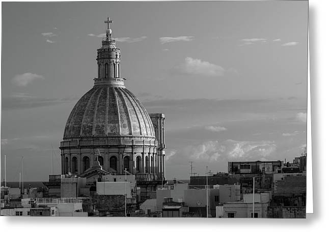 Dome Of Our Lady Of Mount Carmel In Valletta, Malta Greeting Card