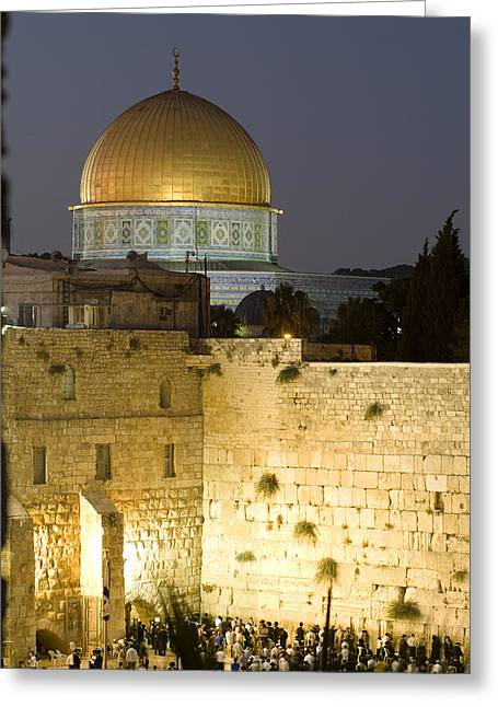 The Devotee Greeting Cards - Dome Of The Rock And The Western Wall Greeting Card by Richard Nowitz