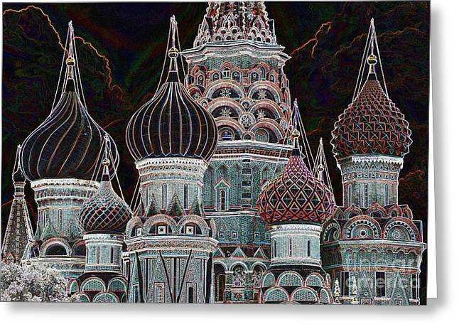 Domes Of St. Basil Cw Greeting Card by Steven Liveoak