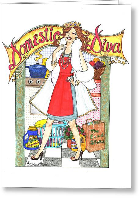 Domestic Diva Greeting Card