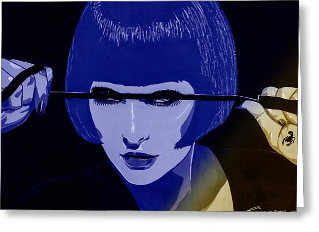 Dominatrix In Blue Greeting Card by Joe Ciccarone