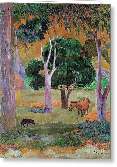 Jungle Animals Greeting Cards - Dominican Landscape Greeting Card by Paul Gauguin