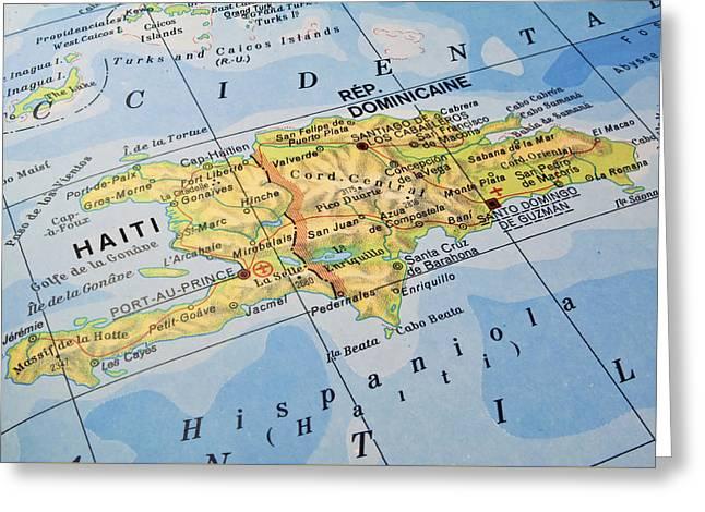 Dominican Republic Haiti Map. Greeting Card by Fernando Barozza