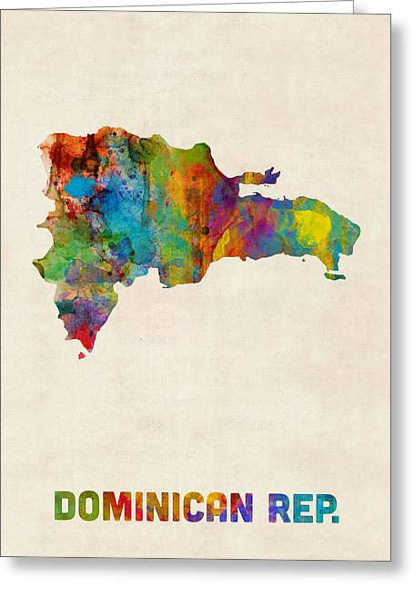 Dominican Republic Watercolor Map Greeting Card by Michael Tompsett