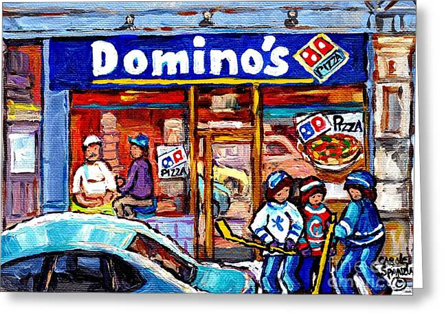 Domino's Pizza Montreal Storefront And Restaurant Painting Winter Hockey Scene Carole Spandau Art    Greeting Card