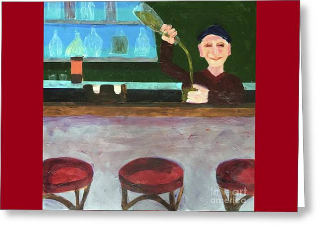 Greeting Card featuring the painting Don At Tres Gringos Bartending by Donald J Ryker III