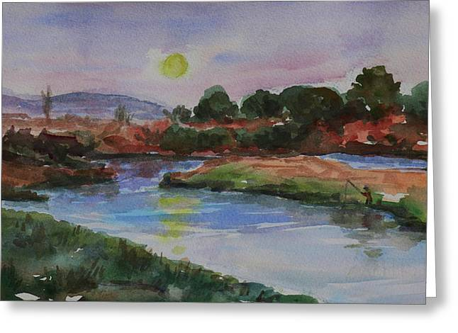 Greeting Card featuring the painting Don Edwards San Francisco Bay National Wildlife Refuge Landscape 1 by Xueling Zou