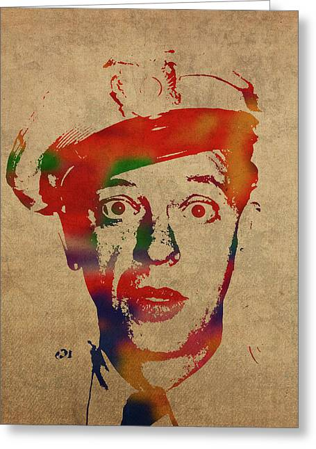 Don Knotts Barney Fife Watercolor Portrait Greeting Card