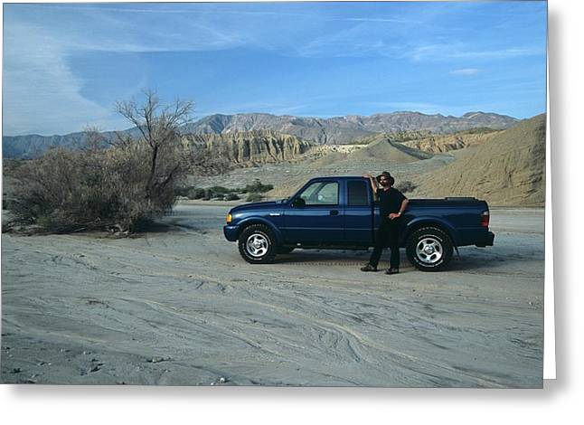 Don Kreuter And Truck In Dry Wash Greeting Card