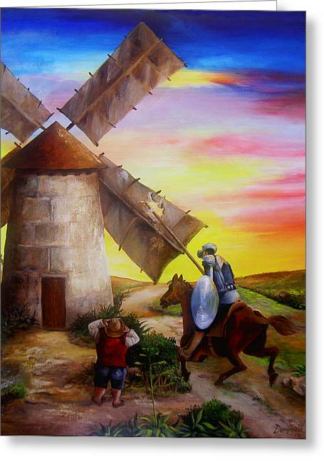 Don Quixote Greeting Cards - Don Quixotes Windmill Adventure Greeting Card by Dominica Alcantara