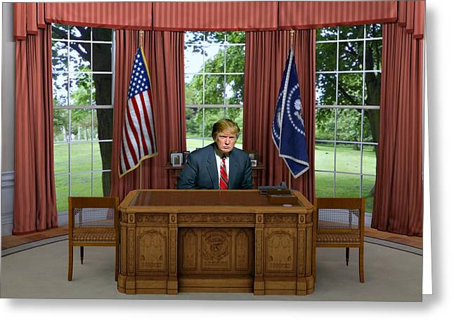 Donald Trump In The Oval Office Greeting Card