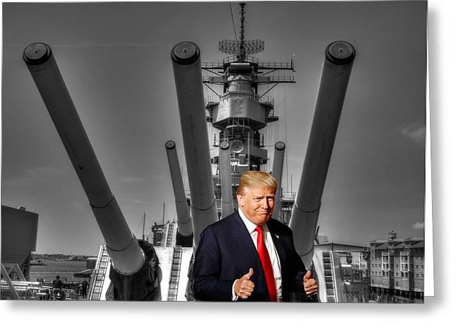 President Donald Trump U S S Wisconsin B B - 64  Greeting Card