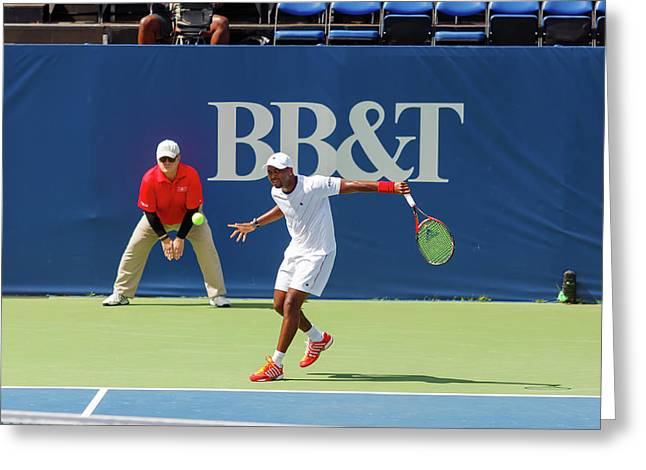 Donald Young Plays In The Winston-salem Open. Greeting Card by Bryan Pollard