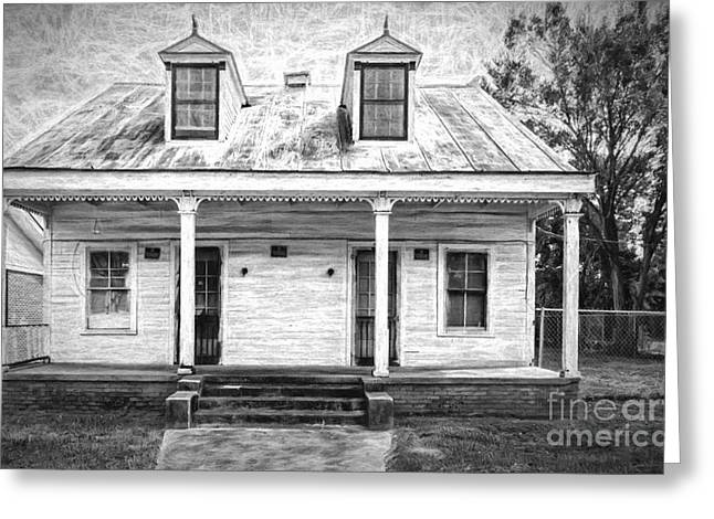 Donaldsonville Historic House- Bw Art Greeting Card