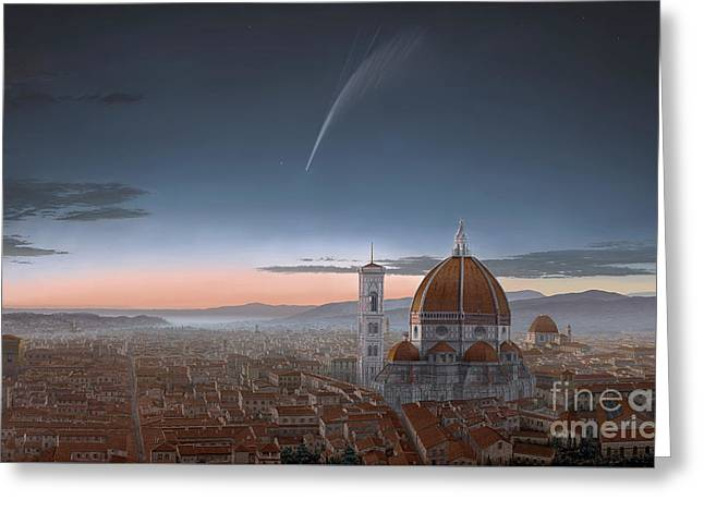 Donati's Comet Over Florence Greeting Card