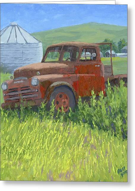 Greeting Card featuring the painting Done Dodge by David King