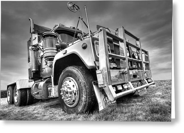 Done Hauling - Black And White Greeting Card by Gill Billington