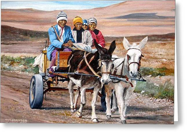 Donkey Cart Greeting Card