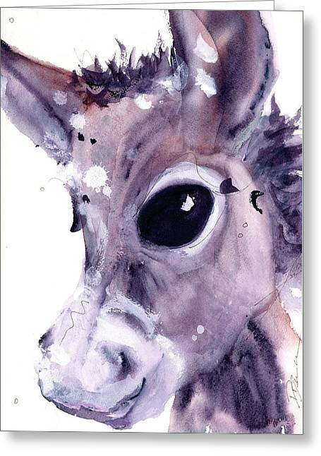 Greeting Card featuring the painting Donkey by Dawn Derman
