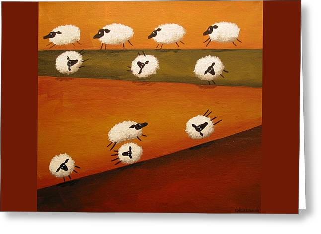 Donkey Kong Sheep - Folk Art Greeting Card by Debbie Criswell
