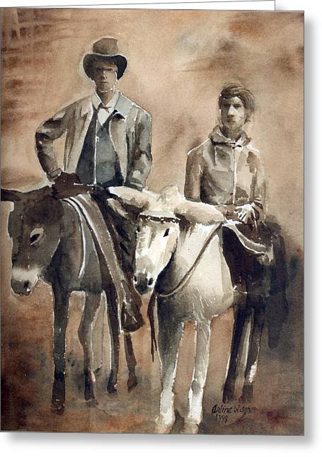 Monotone Paintings Greeting Cards - Donkey Ride Greeting Card by Arline Wagner