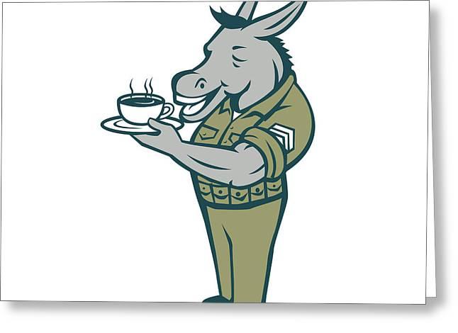 Donkey Sergeant Army Standing Drinking Coffee Cartoon Greeting Card by Aloysius Patrimonio